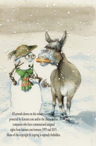 christmas card carrot snowman donkey