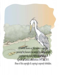 illustration heron looks over river swans swimming