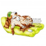 commercial artwork -spaniel chills on airbed